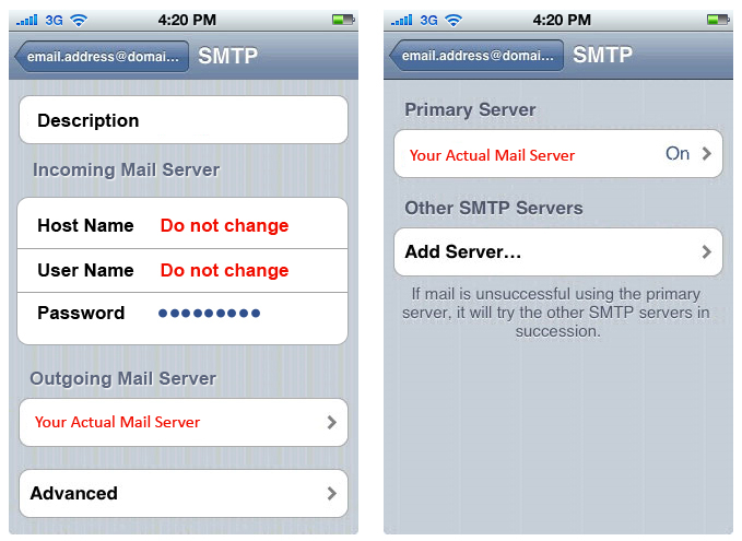 how to change incoming mail hostname on iphone